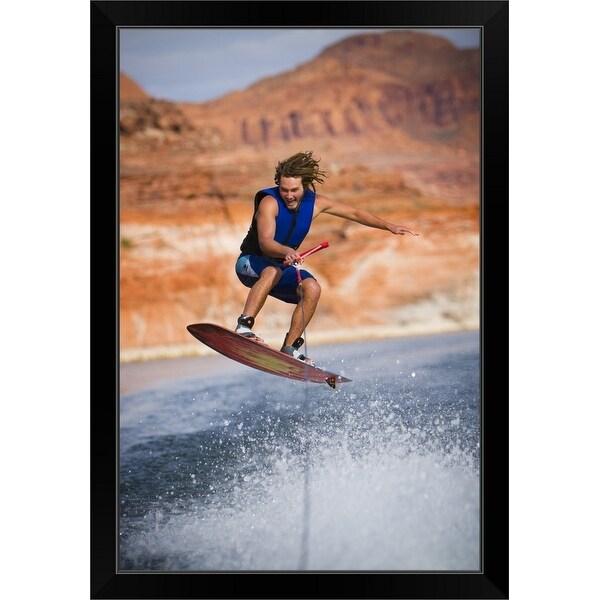 """""""Man wakeboarding"""" Black Framed Print"""