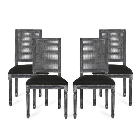 Regina French Country Wood and Cane Upholstered Dining Chair (Set of 4) by Christopher Knight Home