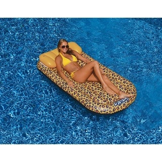 "72"" Wild Things Cheetah Print Inflatable Swimming Pool Lounger Raft - brown"