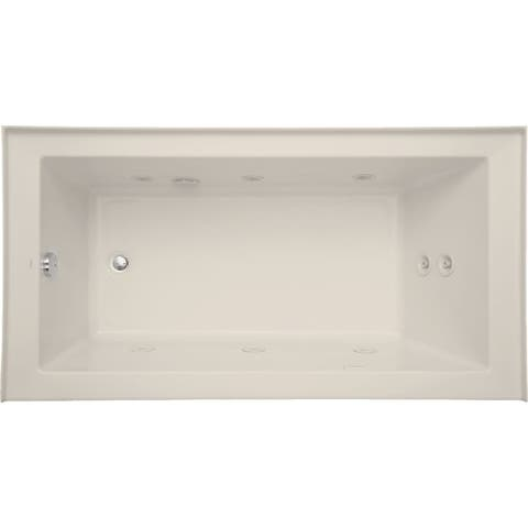 "Mirabelle MIRSKW6032L Sitka 60"" X 32"" Acrylic Whirlpool Bathtub for Three Wall Alcove Installations with Right Pump and Left"