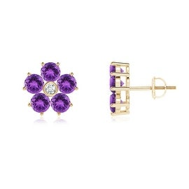Classic Diamond and Amethyst Flower Stud Earrings