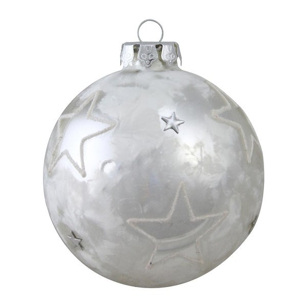 """4"""" Frosted and Starred Silver Glass Christmas Ornament"""