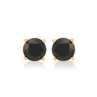 Best Selling, Round Brilliant Cut Genuine Black Diamond Screw Back Stud Earring