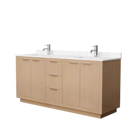 Maroni 72-Inch Light Straw Double Vanity, Cultured Marble Top