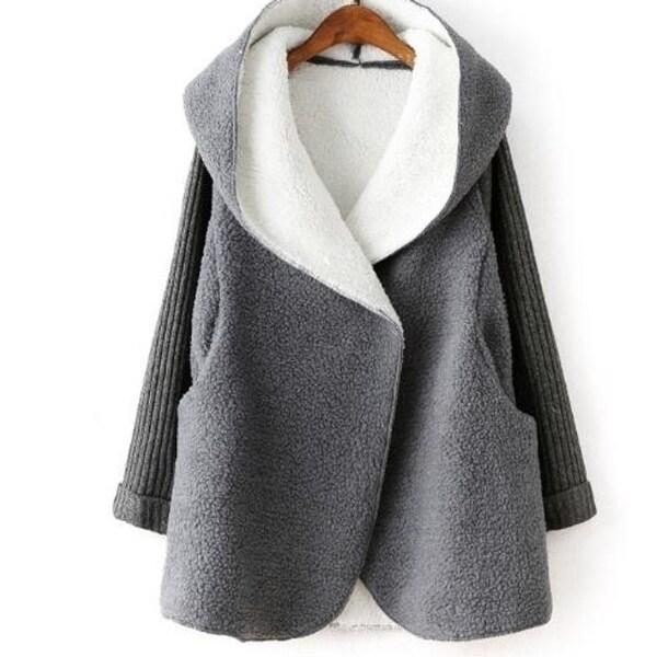 Women Fleece Coat Hooded Cardigan Pockets Faux Fur Jacket - One Size. Opens flyout.