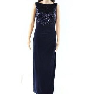 Lauren Ralph Lauren NEW Blue Women Size 8 Sequined-Bodice Gathered Gown