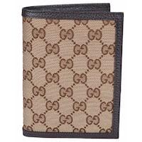 """Gucci Men's 346079 Beige Canvas GG Guccissima Passport Holder Bifold Wallet - 5.75"""" x 4.25"""""""