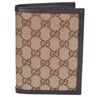 "Gucci Men's 346079 Beige Canvas GG Guccissima Passport Holder Bifold Wallet - 5.75"" x 4.25"""