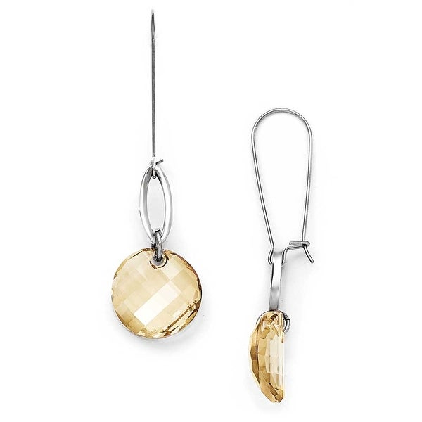 Chisel Stainless Steel with French Wire Crystal Earrings