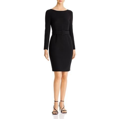 Donna Karan Womens Cocktail Dress Belted Long Sleeve - Black - 2