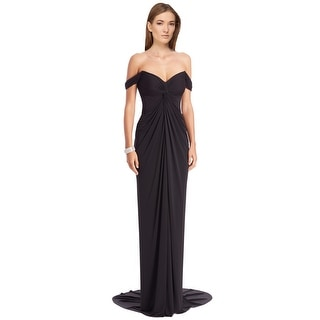 David Meister Draped Jersey Off Shoulder Evening Gown Dress - 2