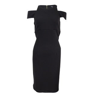 MSK Women's Textured Cold-Sleeve Sheath Dress (10, Black) - Black - 10
