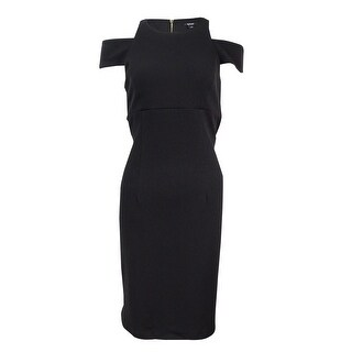 MSK Women's Textured Cold-Sleeve Sheath Dress (8, Black) - Black - 8