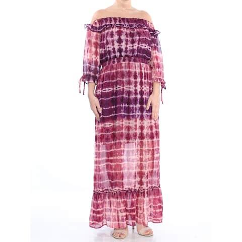 JESSICA SIMPSON Purple 3/4 Sleeve Full-Length Dress Size S