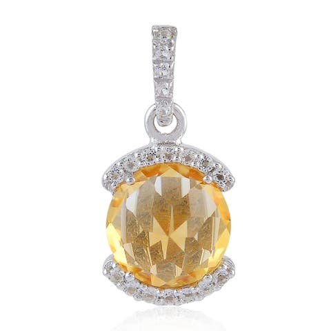 Natural Citrine Topaz Charm Pendant 925 Sterling Silver Jewelry With Free Jewelry Box
