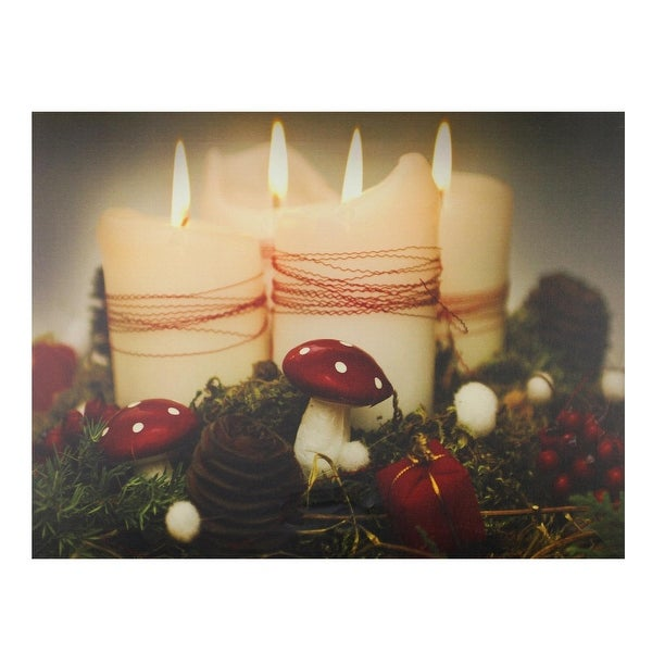 "LED Lighted Flickering Holiday Candles Christmas Canvas Wall Art 11.75"" x 15.75"" - WHITE"