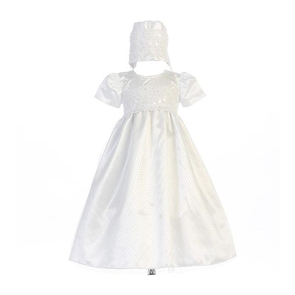 056e9bb02 Shop Baby Girls White Diamond Mesh Lace Trim Ruby Bonnet Baptism Dress -  Free Shipping Today - Overstock - 23086594