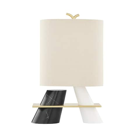 Hudson Valley Traverse 1-Light Aged Brass Table Lamp with Beige Linen Shade