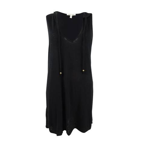 Miken Women's Plus Size Sleeveless Hoodie Dress Swim Cover-Up - Black