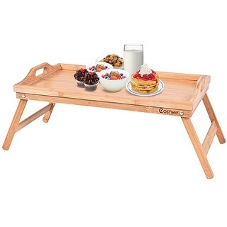 Costway Portable Bamboo Breakfast Bed Tray Serving Laptop Table Folding Leg w/ Handle - Wood