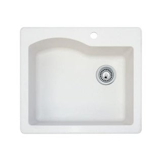 "Swanstone QZSB-2522 25"" Single Basin Drop-In / Undermount Granite Kitchen Sink"