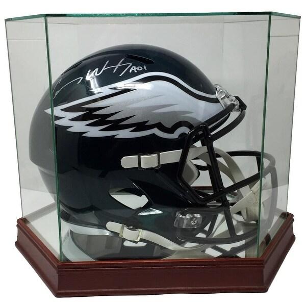 23931a3834a Carson Wentz Signed Eagles Replica SB 52 Helmet Fanatics w/ Glass Display  Case