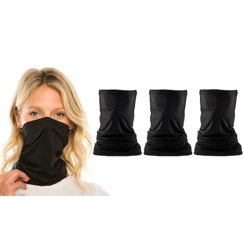 3-Pack Bandana Face Cover Gaiter Adjustable Scarves