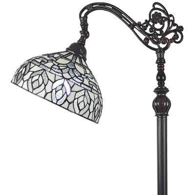 Tiffany Style Peacock Design Floor Reading Lamp AM277FL12B Amora Lighting