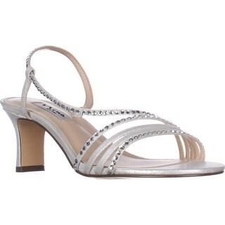Nina Gerri Cross Strap Evening Sandals, Silver Reflect