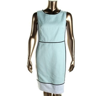 Jones New York Womens Woven Contrast Trim Wear to Work Dress