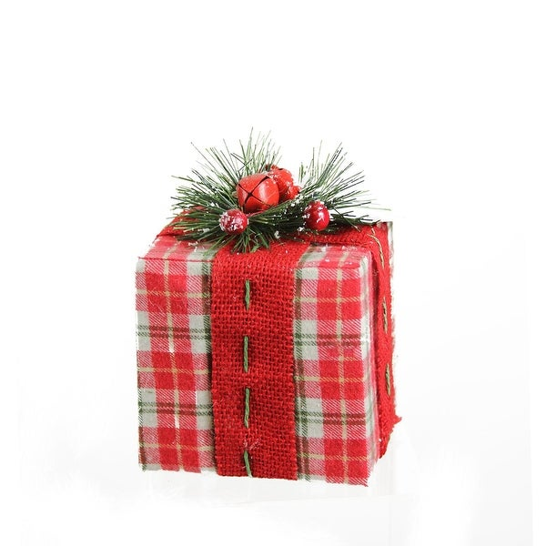 "5.75"" Rectangular Red, White and Green Plaid Gift Box with Pine Bow Table Top Christmas Decoration"