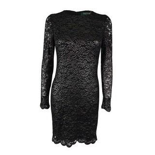 Ralph Lauren Women's Metallic Lace Dress - Black/silver