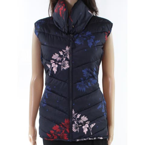 Joules Women's Jacket Blue Size 14 Puffer Vest Full-Zip Floral Printed