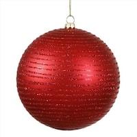 Red Hot Glitter Striped Shatterproof Christmas Ball Ornament - 4.75