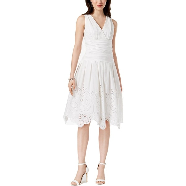 SLNY Womens Party Dress Eyelet Sleeveless