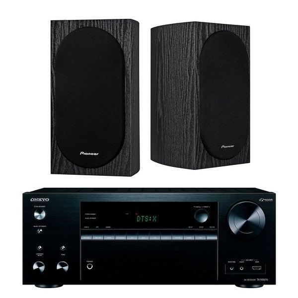 Onkyo TXNR676 7.2-Channel Network A/V Receiver with Pioneer Bookshelf Speakers (Black)