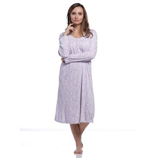 Body Touch Women's Classic Scoopneck Long Sleeve Nightgown - Purple