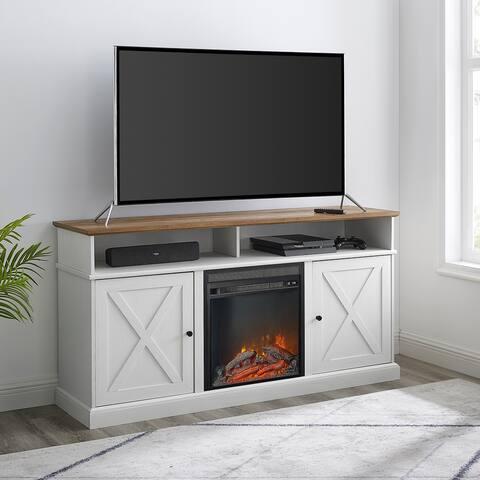 The Gray Barn 60-inch Barn Door Fireplace TV Console