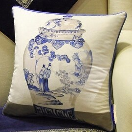 "Luxury Blue One Vase Printing Pillow 18""X18"""