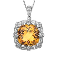6 1/4 ct Citrine & 1/8 ct Diamond Pendant in Sterling Silver - Yellow