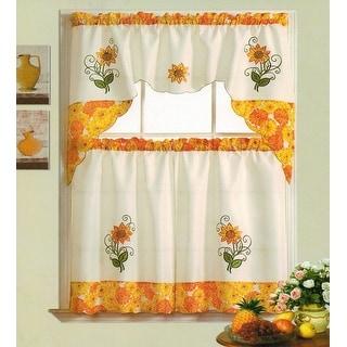 Sunflower Garden Embroidered Kitchen Curtain Valance & Tiers Set Beige - 60x36 & 30x36 - 30 x 36