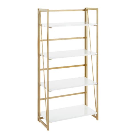 Silver Orchid Sala 4-Shelf Bookcase in Gold Metal & White Wood