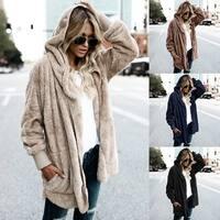 Women Cardigan Coat Oversized Open Front Hooded Draped Pockets Cardigan Coat