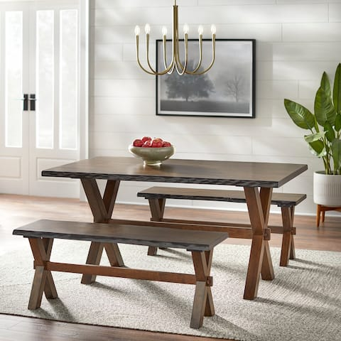 Simple Living Mandeville Wood Live Edge 3-piece Dining Set