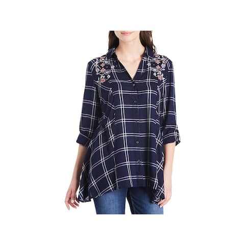 Vintage America Womens Ries Button-Down Top Plaid Tunic - XS