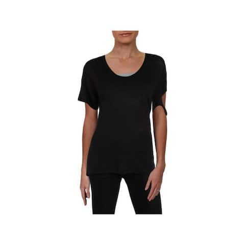 IRO.JEANS Womens Black Short Sleeve Scoop Neck T-Shirt Top Size XS