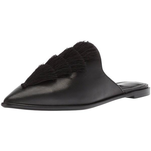 Nine West Women's Ollial Leather Mule, Black Leather, Size 6.5