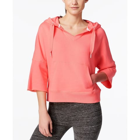 Calvin Klein Performance Women's New 3/4-Sleeve Relaxed Hoodie (Coral, L)