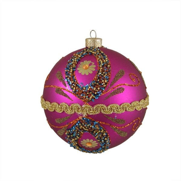 "Flower Power Matte Fuchsia Beaded Shatterproof Christmas Ball Ornament 4"" 100mm"