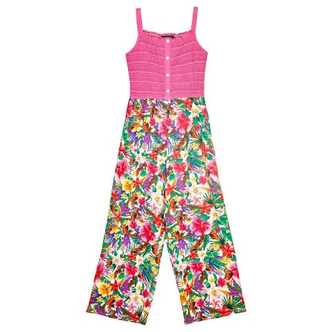Amy Byer Girl's Jumpsuit Pink Size 7 Smocked Printed Button-Detail